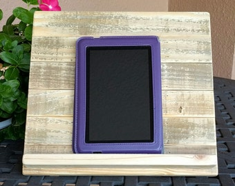 Unfinished Tablet or iPad Holder made from RECLAIMED & REPURPOSED Pallet Wood
