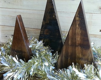 Set of 3 Rustic Christmas Trees from Repurposed Reclaimed Wood