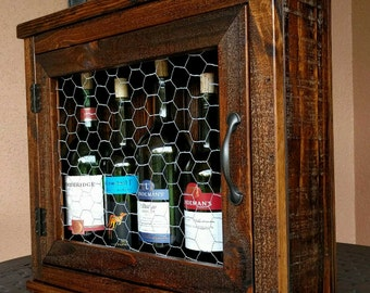 Wine or Liquor Wall Cabinet made from Rustic Reclaimed and Repurposed Pallet Wood