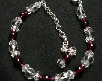 Ruby, Garnet and Clear Quartz Bracelet (Adjustable)
