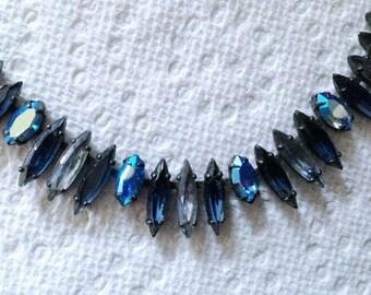 Vintage Regency Jewels, 1950's Blue Sapphire and Aurora Borealis Rhinestone Necklace
