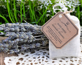 Organic Lavender-filled Muslin Sachet ||Personal, Party or Wedding Favor ||