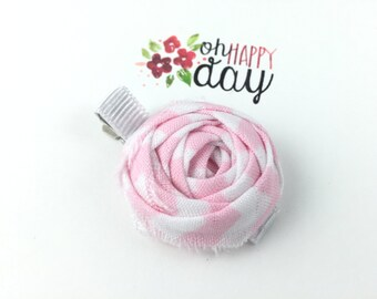 floral rosette floral hair clip rosette hair clip pink and white girl hair clip women hair clip girl flower clip pink hair clip flower clip