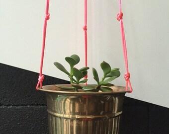 SALE 25% OFF Brass Fluro Pink Hanging Pot Planter Vintage