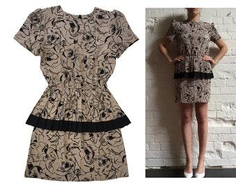 Vintage Peplum Mini Dress Beige & Black Print