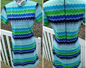 Vintage Fritzi of California Multi colored /chevron pattern/blue/green mod dress 1960s
