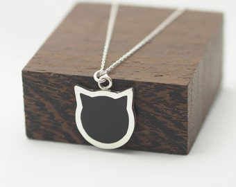 Necklace, Cat Face Pendant, Sterling Silver Necklace, Resin Pendant, Perfect Gift for the Cat Lover