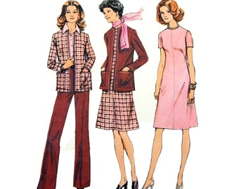 70s Simplicity 6614 Dress with Round Neckline, Lined Cardigan and Flared Pants, Uncut, Factory Folded Sewing Pattern Size 10.5- 12.5