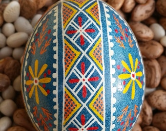 Pysanky - Light Blue with Yellow Flower
