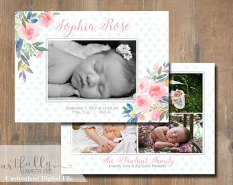 Girl Birth Announcement | Watercolor Flowers | Painted Design | DIY Printable | Customized | Photo Card