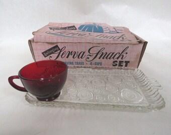 1950's Anchor Glass Serva Snack Set Retro Bubble Pattern With Original Box