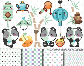 Panda Clipart, Panda Graphics, COMMERCIAL USE, Kawaii Clipart, China Clipart, Planner Accessories, Panda Party, Bear Clipart, Celebration