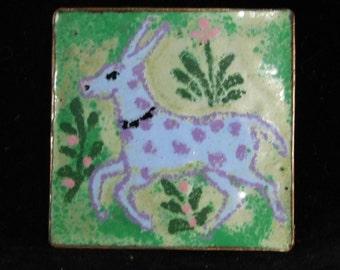 Copper enamel brooch with pretty animal