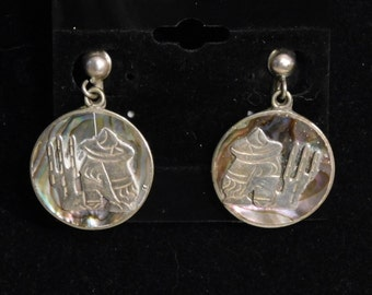 Mexican Taxco silver earrings-- overlaid abalone shell