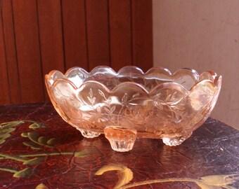 Carnival Glass Bowl, Vintage Marigold Carnival Glass Bowl, Footed Carnival Glass Bowl