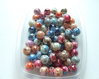 Y1426 Lot 10 beads striped nuanced interlayer multicolor round AB 12 mm