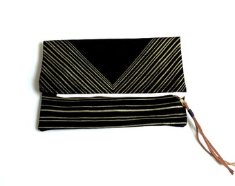 Triangle Foldover Clutch - Black