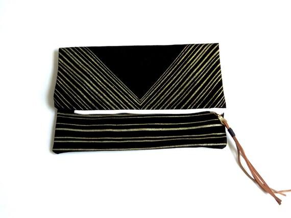 Triangle Foldover Clutch - Black