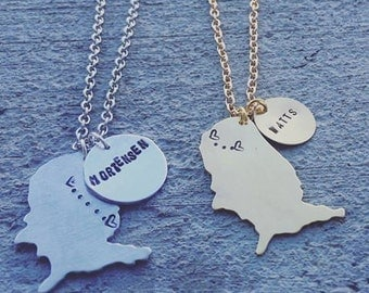 United States Necklace, U.S Necklace, Silver U.S Charm, United States Charm, Long-Distance, Love, Personalized, Hand-Stamped