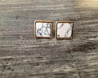 Marble Square Stud Earrings