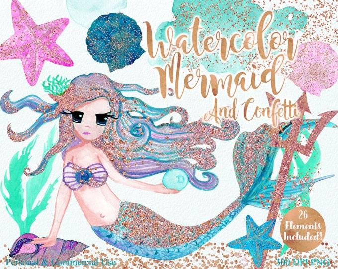AQUA WATERCOLOR MERMAIDS Clipart Commercial Use Clipart 26 Elements Rose Gold Confetti Mermaid Shells Starfish Ocean Watercolor Clip Art