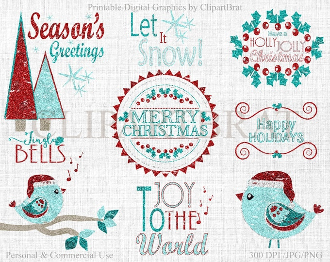 CHRISTMAS CLIPART Commercial Use Clipart Christmas GLITTER Word Art Trees Bird & Quotes Holiday Digital clip art Instant Download Jpg/Png