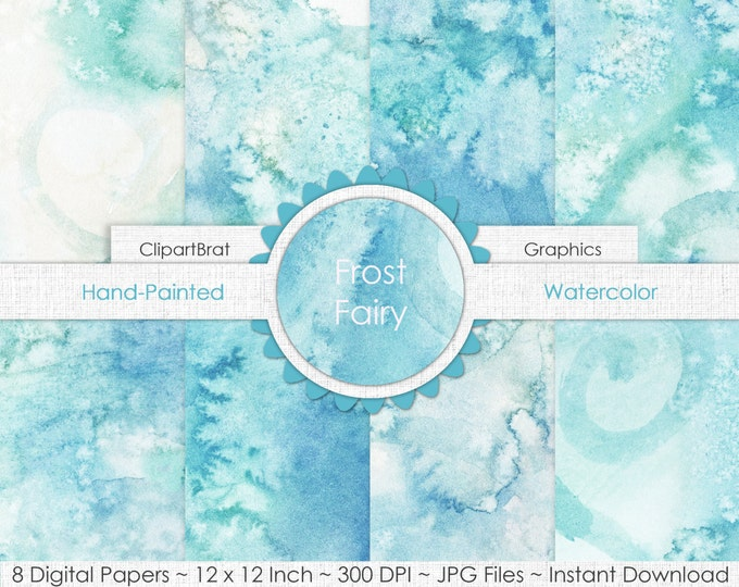 FAIRY WATERCOLOR Digital Paper Pack Commercial Use Background Paper Winter Frost Teal Blue Hand-Painted Real Watercolor Digital Background