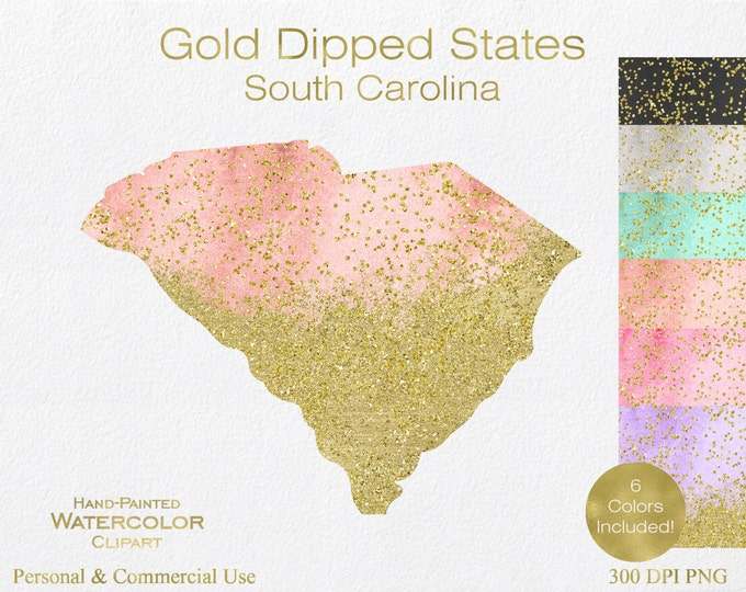 WATERCOLOR & GOLD South Carolina Clipart Commercial Use Clipart United States Shapes Clipart Gold Confetti Dust South Carolina Clip Art