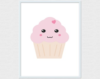 Pink Kawaii Cute Happy Cupcake Food Art Print 8x10