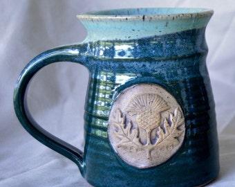 Hand-thrown Mug with Thistle Stamp