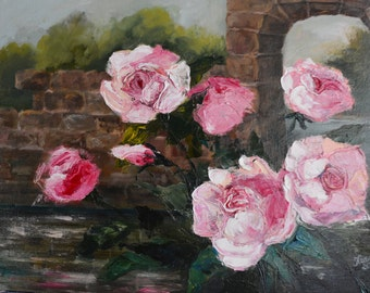 Roses in the old manor. Oil painting