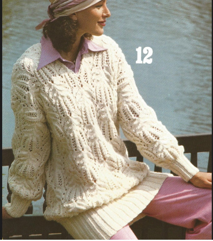 ea9046447 Knit Womans Long Style Lacey knit Sweater  OhhhMama  long sleeves V-Neck  Knit Pullover Jumper Tunic Vintage Pattern Instant Download Pdf from  OhhhMama on ...