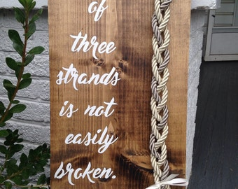 A cord of three strands is not easily broken, wedding sign, wedding deco, wedding cord sign, God's knot, colored braided cords sign.