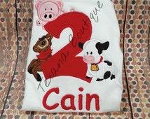 Barnyard farm animals embroidered birthday shirt