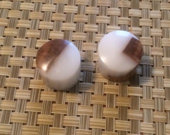 Set of two Hand turned Maple and White Guitar Knob