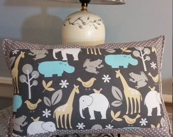 Giraffe/elephant/hippo/frog crib pillow, Zoo animal nursery pillow, elephant/giraffe nursery pillow, baby/child's pillow, Zoo Theme nursery