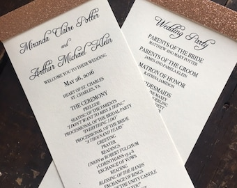 Glitter Wedding Programs - IVORY & ROSEGOLD