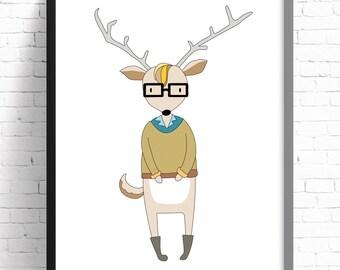 Nursery Wall Art Print - Kids Room Wall Art -Hipster Deer - A4 Print - 8x10 Print. Boys Bedroom Decor.