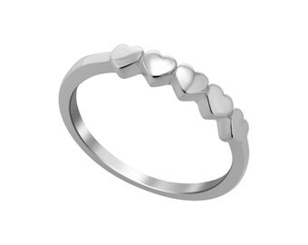 Five Hearts Silver Ring, Stackable Silver Ring, 5 Hearts Silver Ring, 925 Sterling Silver Womens Ring, Silver Band Ring, Romantic Ring