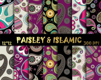 """Paisley & islamic paper, Turquoise Paper,FOLK ART PAPER, Floral background, Turquoise Floral, Scrapbook Paper, 12"""" x 12"""", Digital background"""