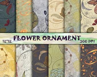 Flower Scrapbooking Paper, Floral Digital Paper Pack, Organic ornament, Floral Scrapbooking, Flower Digital Paper, Digital collage sheet