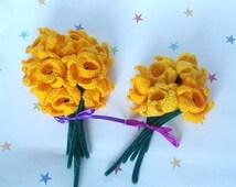 Crochet Daffodils, Forever Fresh Flowers, Flower Bouquet, Wedding Flowers, Get Well Soon, Dozen/Half Dozen, Yellow Flower, Spring Flower