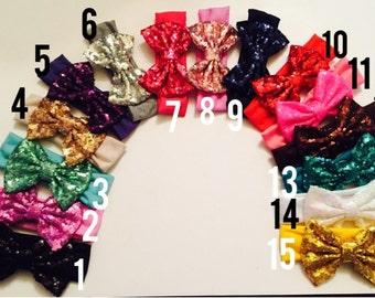 5 inch sequin bow headband