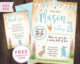 Peter rabbit style invitation, peter rabbit birthday, beatrix potter invitation, first birthday invitation baby boy, peter rabbit party