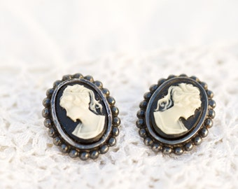 Vintage Silver Cameo Earrings