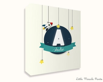 Andre, Rocket, Canvas Print, Nursery Décor, Custom Baby Name, Congratulations, Kids Room Art, Nursery Print, Baby Girl [N13B158C]