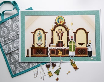 My Quiet Mass Magnetic Catholic Church Sticker Set with Tote Bag