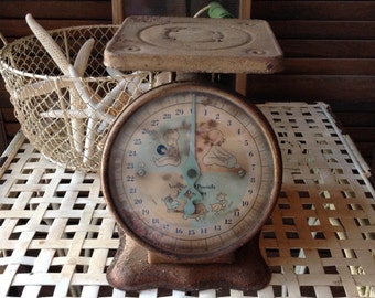 Vintage Baby Scale Rusty Rustiness Shabby Home Decor Vignette Decorative Accent