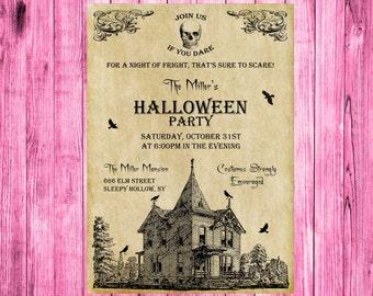 Adult Halloween Invitation, Halloween Party Invitation, Costume Party Invitation, Haunted Mansion Invitation, Printable Halloween Invitation