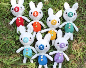 Crochet Doll Keychains - Rainbow Rabbit